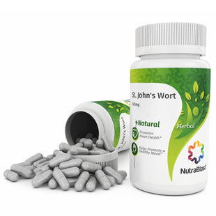 NutraBlast St. John's Wort 500Mg from Flower Heads Powder & Extract - Non-GMO (100 Capsules)