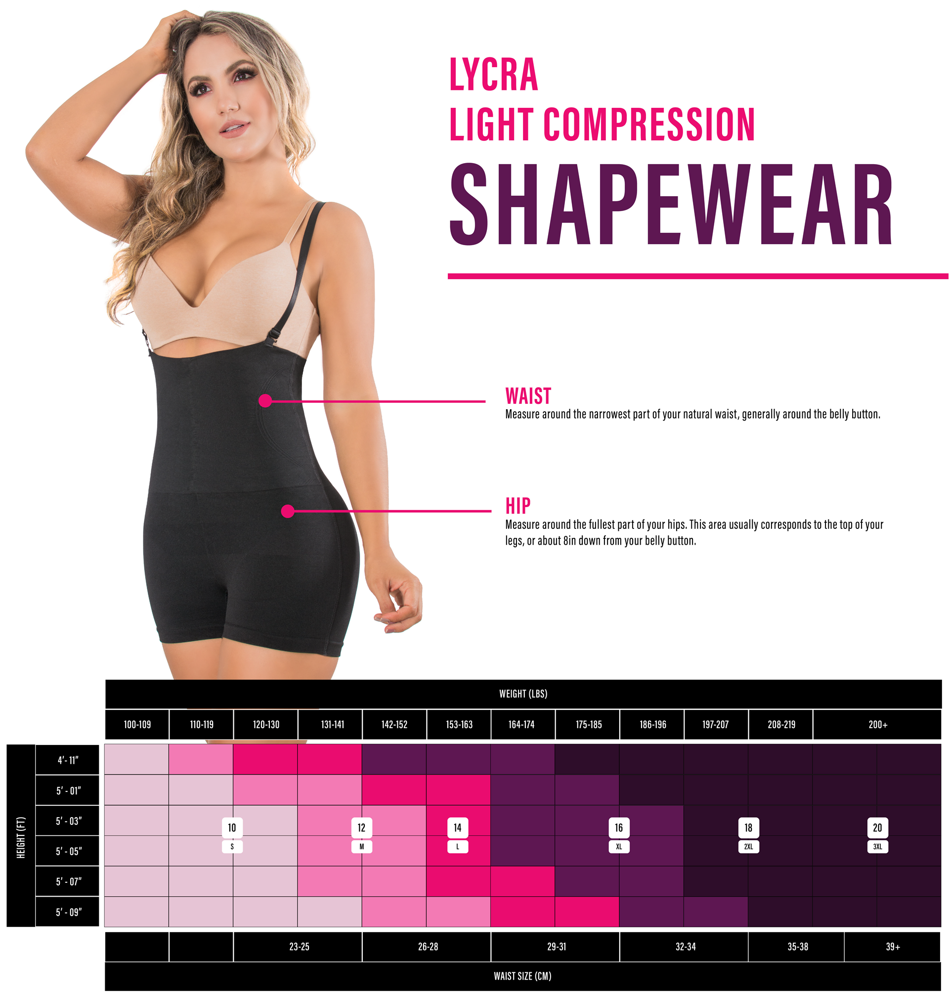 Nicolette Shapewear Lycra Light Compression Shapewear Measurement Chart
