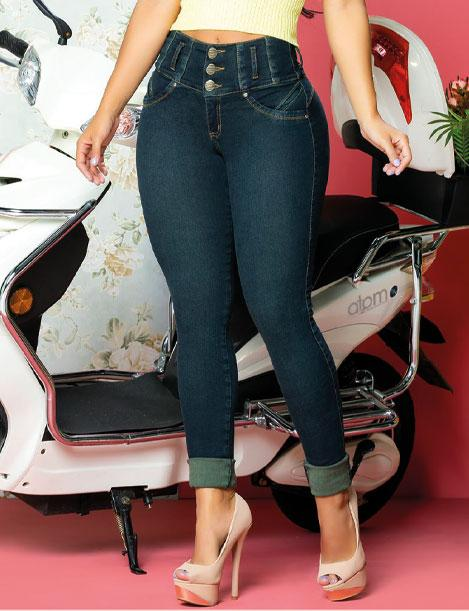 dark wash up close view of blue butt lift jeans with motorcycle in background and high heels
