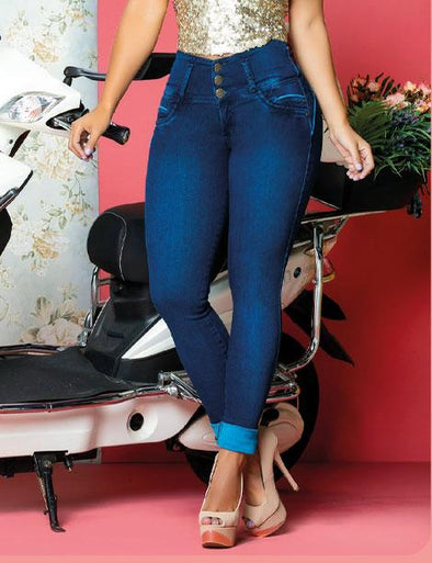 medium bright blue skinny butt lift jeans high waisted with heels
