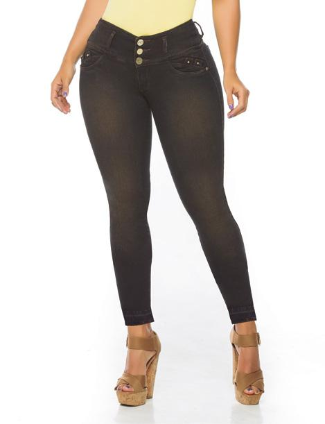 front view of dark black skinny jeans with brown high heels