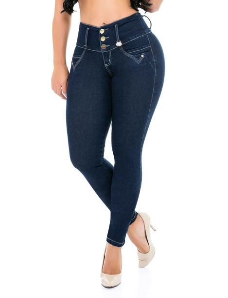front view colombian butt lift jeans with white accent three buttons and white high heels