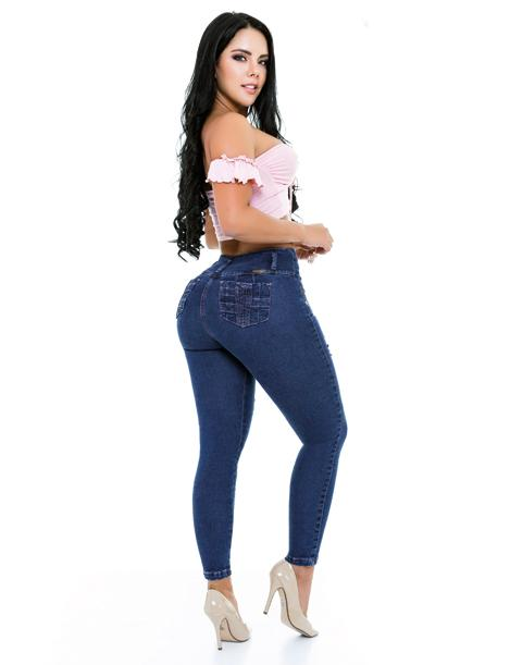 back view butt lift jeans crop top pink with high heels