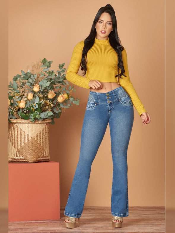 colombian woman outfit colombian jeans boot cut mustard crop top