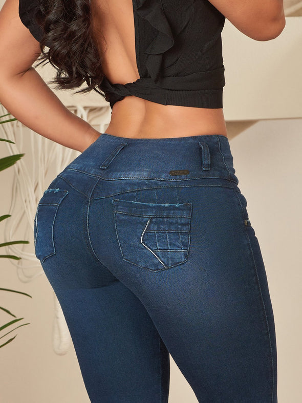 high waist colombian dark denim jeans with textured pockets skinny fit