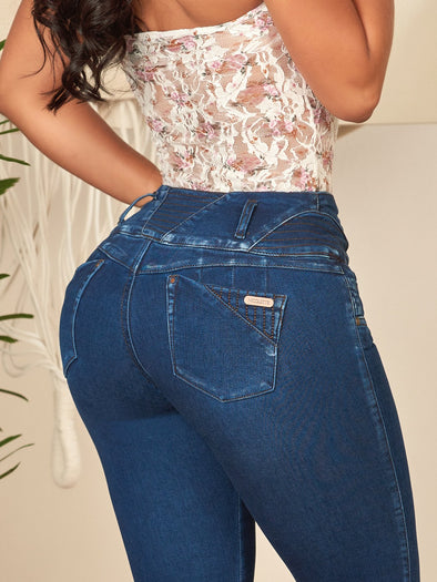 up close colombian butt lift jeans blue with lace white top