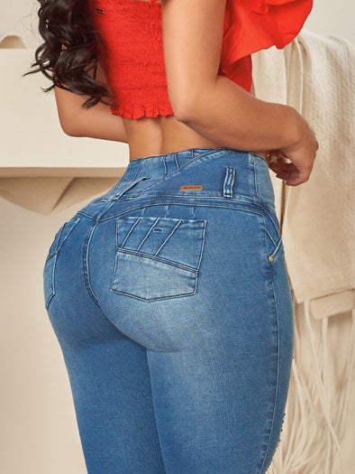 classic wash butt lift jeans  colombian with red crop top