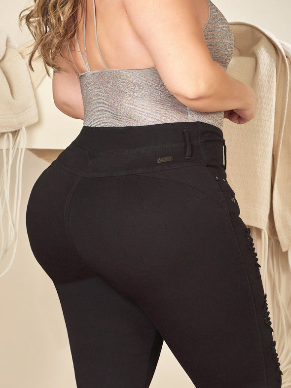 back view colombian butt lift jeans black wearing bodysuit top