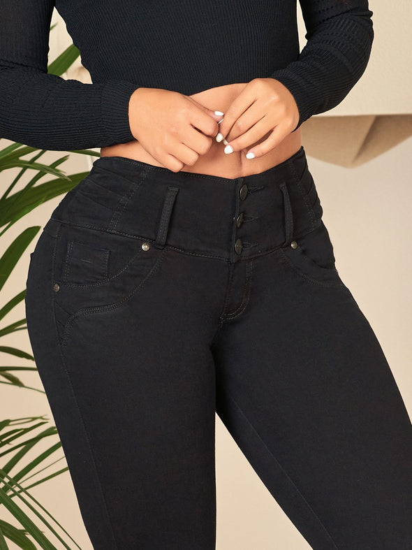 up close view three button colombian butt lift jeans
