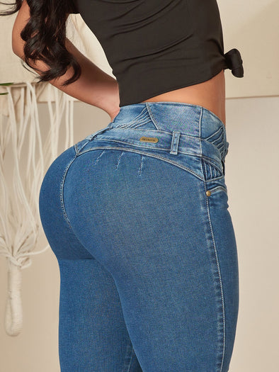 dark wash colombian butt lift jeans by nicolette with black crop top