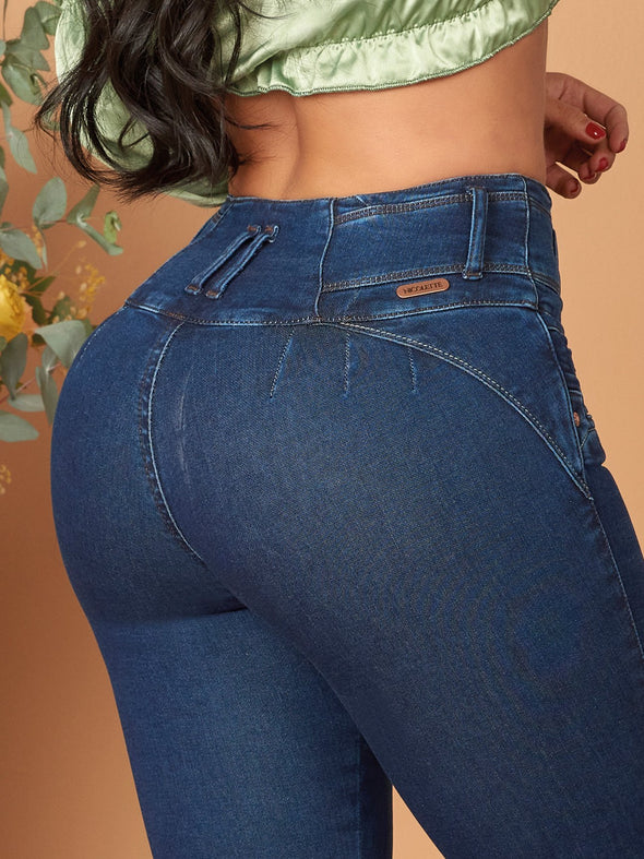 butt lift colombian jeans with no pockets back view up close