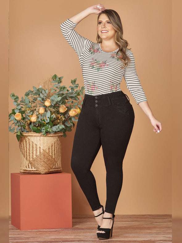 plus size colombian butt lift jeans with striped top and black heels