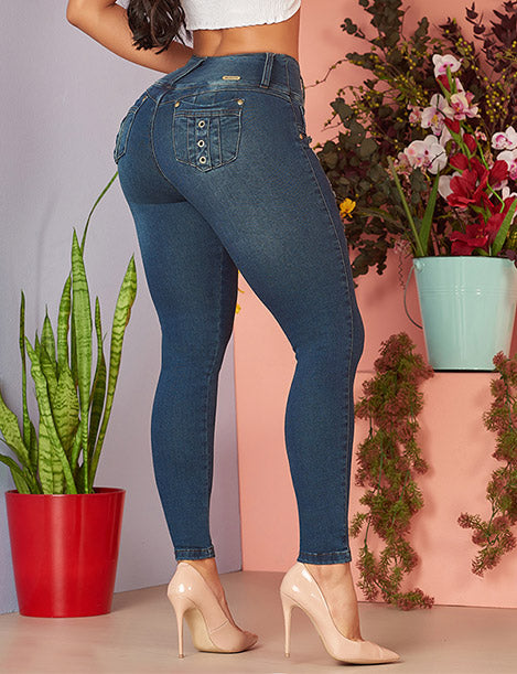 back view of colombian butt lifting dark denim jeans with pocket design and nude heels