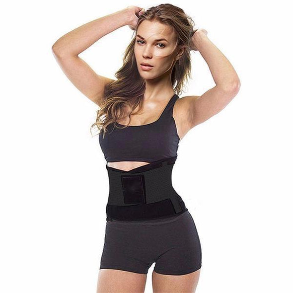 black gym belt waist trainer