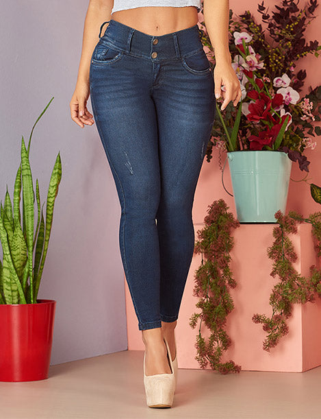 mid waist dark denim colombian butt lift jeans