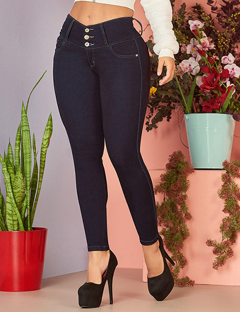 up close colombian butt lift jeans with three buttons dark denim and black high heels