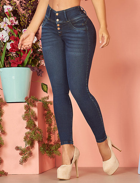 up close view three button dark denim curvy skinny jeans with nude high heels