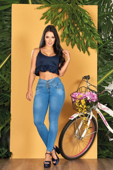 'Perfect Blue' Push Up Jeans Levanta Cola 10553