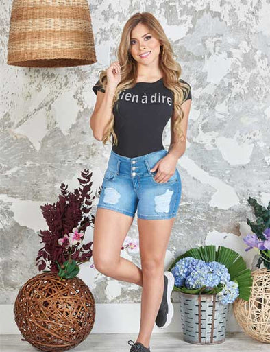 'Liz' Denim Shorts Levanta Cola 10847