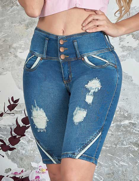 close up front view of colombian butt lifter capri jeans with distress dark blue shorts with white line decorations