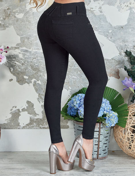 up close butt lifter colombian levantacola black jeans with silver tall high heels