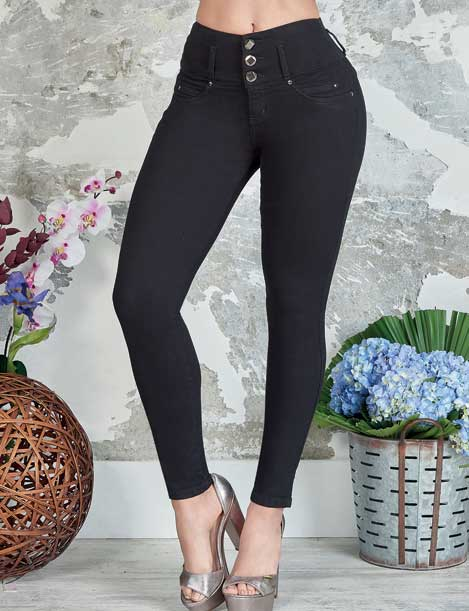 up close view of three button black skinny push up butt lifter jeans