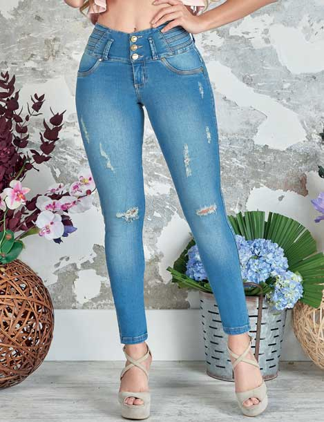 front view butt lifting jeans with distress rips pretty nude heels acid wash background