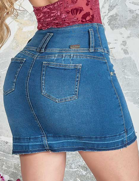 back view of denim colombian dark black butt lift skirt up close