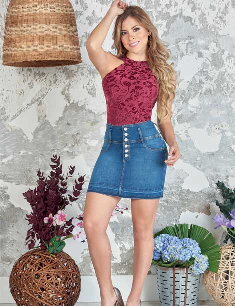 pretty blonde hair colombian girl wearing red top and denim midi skirt with buttons with heels