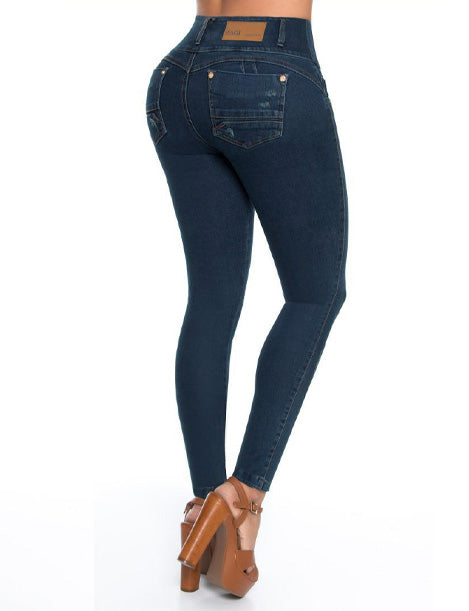 colombian butt lift dark wash jeans back view with wide pockets