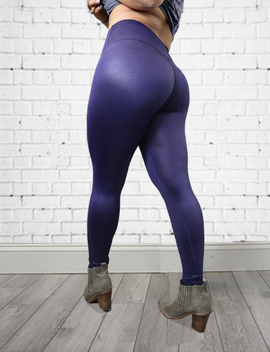 Faux Leather Metallic Butt Lift Leggings L026