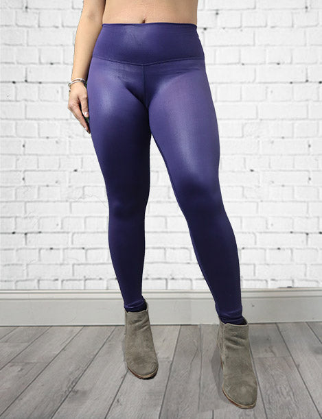 Faux Leather Metallic Butt Lift Leggings