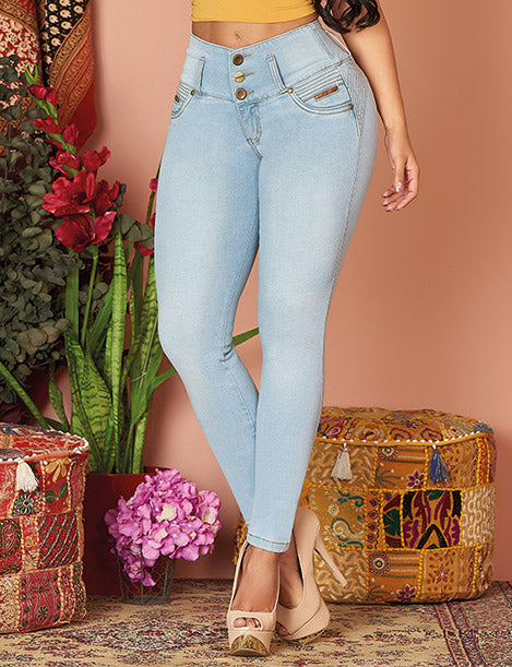 light blue jeans three button tummy control and nude heels and colorful background