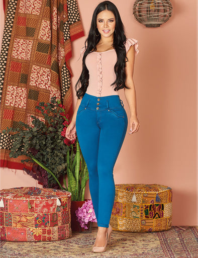 long dark hair colombian girl wearing bright blue curvy push up butt lift jeans