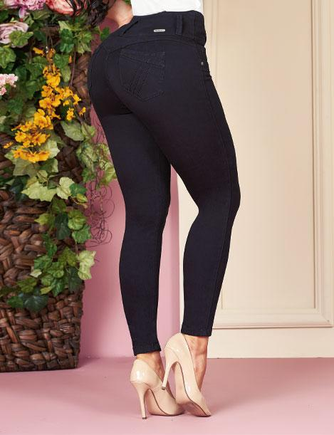 back view of butt lift skinny jeans with high heels black