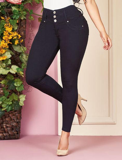 black butt lift jeans skinny fit three buttons and nude high heels