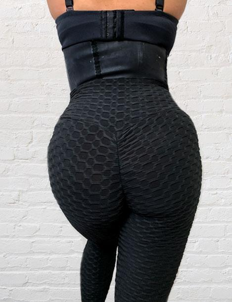 'Bootylicious' Two Piece Textured Butt Lift Leggings w/ Bra Included L024