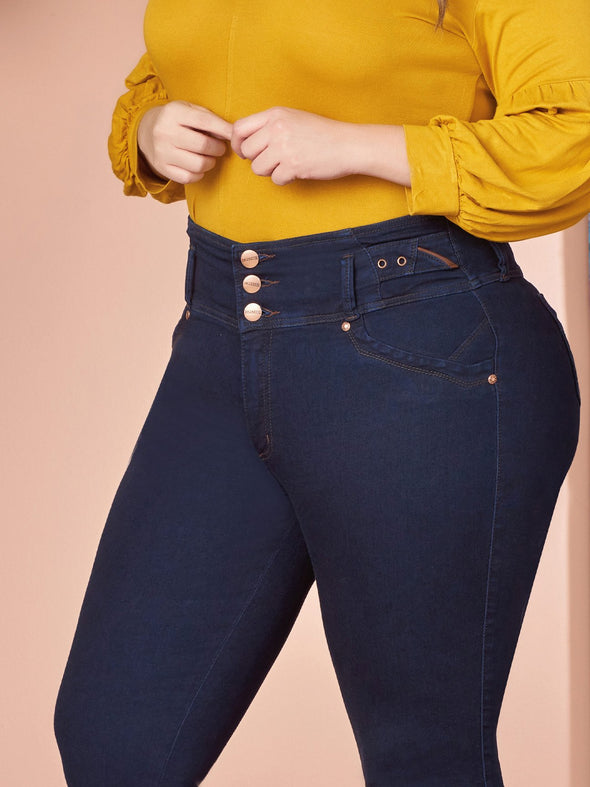 up close view butt lift colombian jeans with three buttons plus size