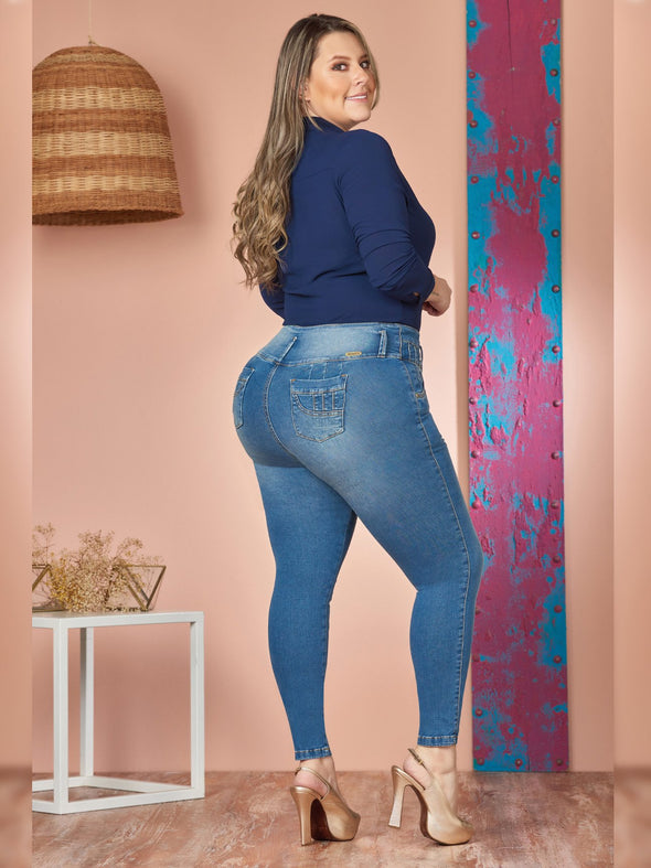back view plus size colombian butt lift skinny jeans with dark blue blouse and high heels