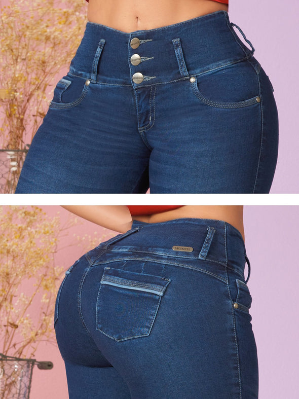 dark wash butt lift colombian jeans up close