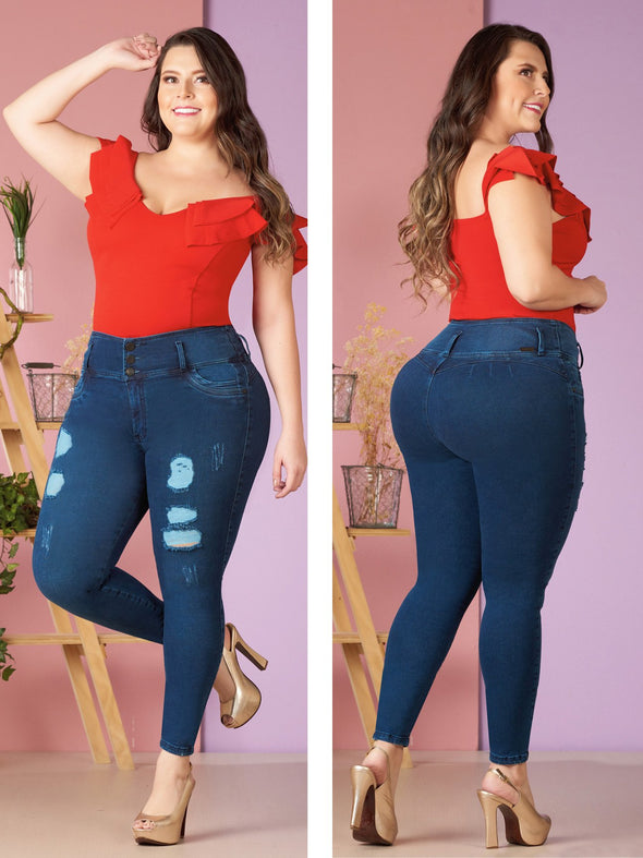plus size colombian model dark wash distress jeans no pockets