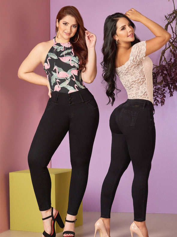 two colombian women with black butt lift skinny jeans and lace bodysuit