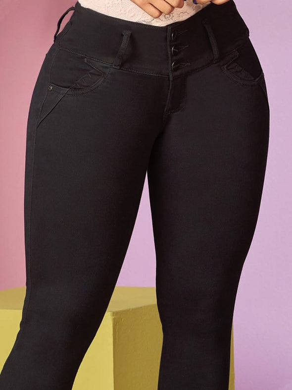 up close view of black colombian three button jeans
