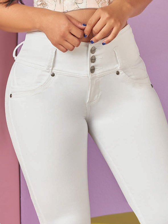 up close view of white butt lift jeans and three buttons