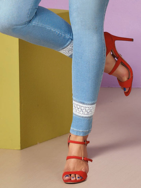 red high heels with blue light was jeans