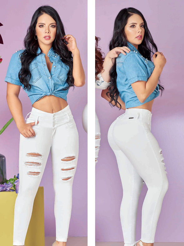 white distressed colombian jeans latina girl and denim top