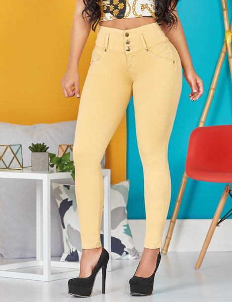 up close butt lifter three button jeans pastel yellow butt lifter skinny with black heels