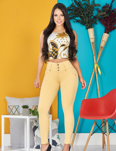 dark black hair colombian woman wearing yellow top and butt lifter push up jeans with three buttons and pastel yellow color