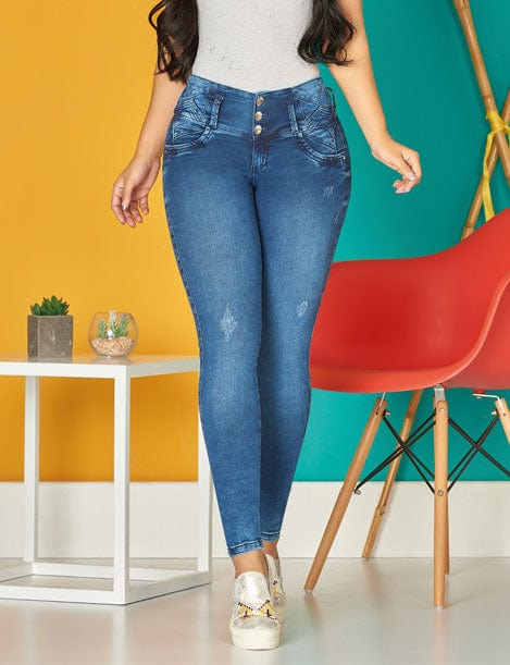 up close three button colombian butt lifter skinny jeans dark blue