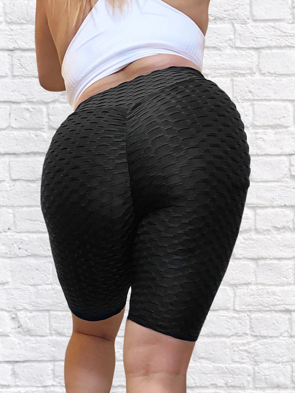 'Bootylicious' Textured Butt Lift Biker Shorts w/ Scrunch Booty (3 Colors) L025
